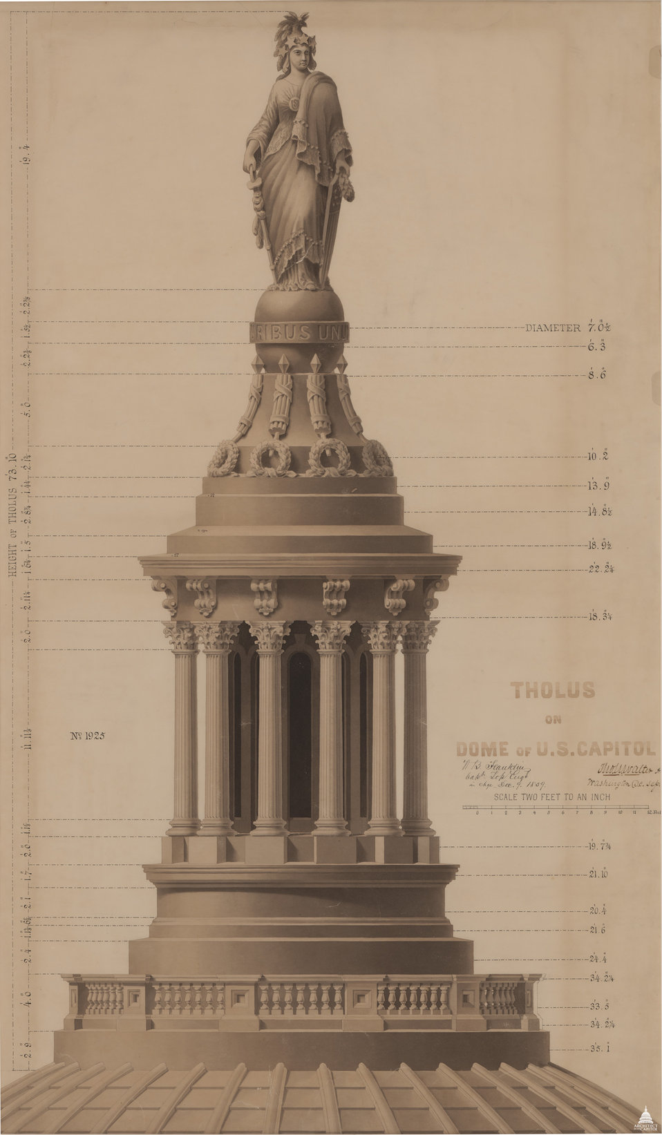 Elevation of Tholos of Capitol Dome and Statue of Freedom