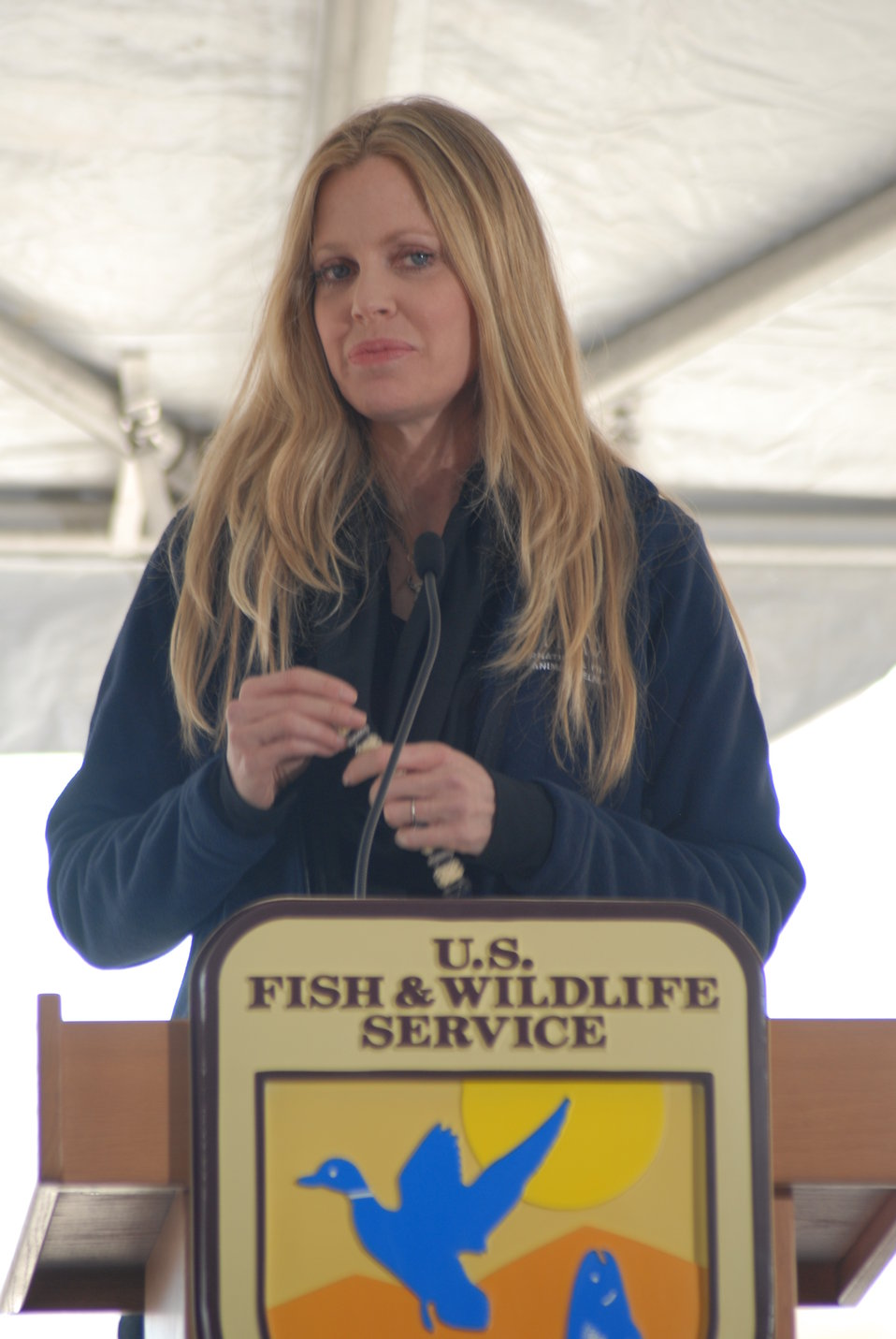 Kristin Bauer, actress and IFAW Ambassador, speaks at the U.S. Ivory Crush.