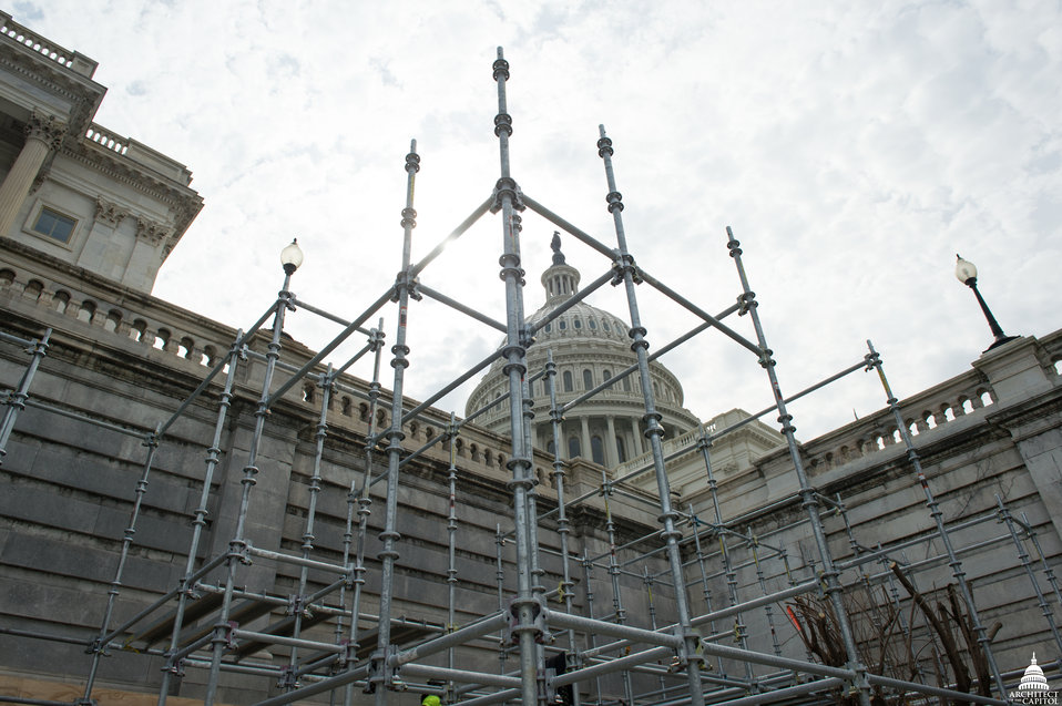 Capitol Dome Restoration - Scaffolding for Lower Tower