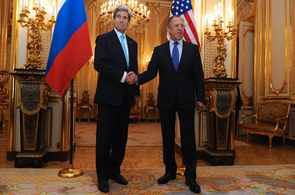 Secretary Kerry, Russian Foreign Minister Lavrov Shake Hands Before Ukraine Meeting in Paris