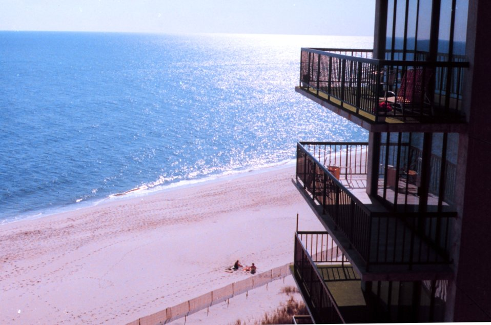 View of a Delaware Beach from an oceanfront condominium