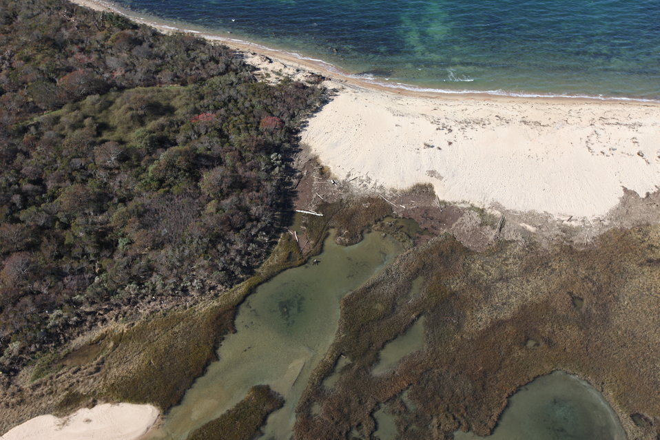 Aerial view of damage at Block Island National Wildlife Refuge