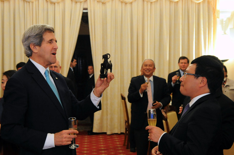 Secretary Kerry Receives a Goat Statuette to Commemorate the Year of his Birth