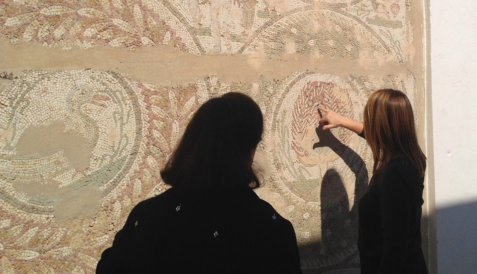 Deputy Secretary Higginbottom Examines a Mosaic at the Archaeological Site of Carthage