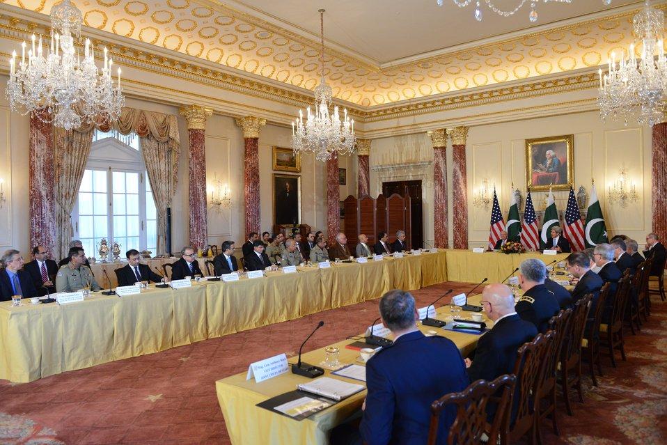 Secretary Kerry and Pakistani National Security and Foreign Affairs Advisor Aziz Participate in the U.S.-Pakistan Strategic Dialogue Plenary Session