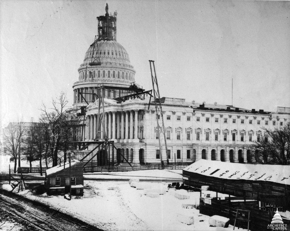 Capitol, Statue of Freedom, and Senate Construction Winter 1863-1864