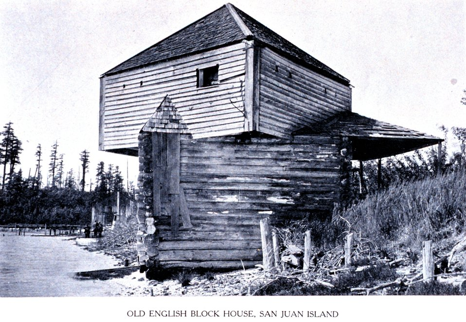 An 'Old English Block House, San Juan Island'. In:  'Puget Sound and Western Washington  Cities-Towns Scenery', by Robert A. Reid, Robert A. Reid Publisher, Seattle, 1912.  P. 15.