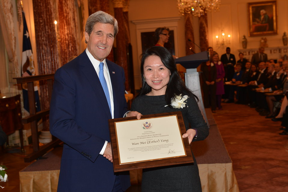 Secretary Kerry Poses for a Photo With Wan Mei (Esther) Yang