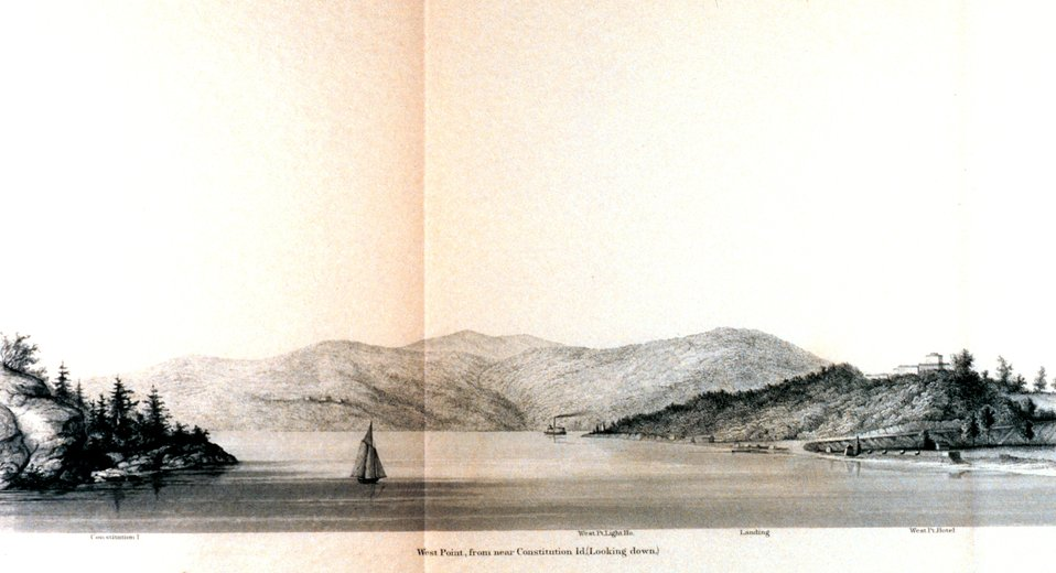 West Point from near Constitution Island looking down.  On the Hudson River.  In : Atlantic Local Coast Pilot Sub-Division 13 South Coast of Long Island New York Bay and Hudson River 1880.  P. 602.  Library Call Number VK981.A3 1879 Sub-13 2nd ed. 1880.