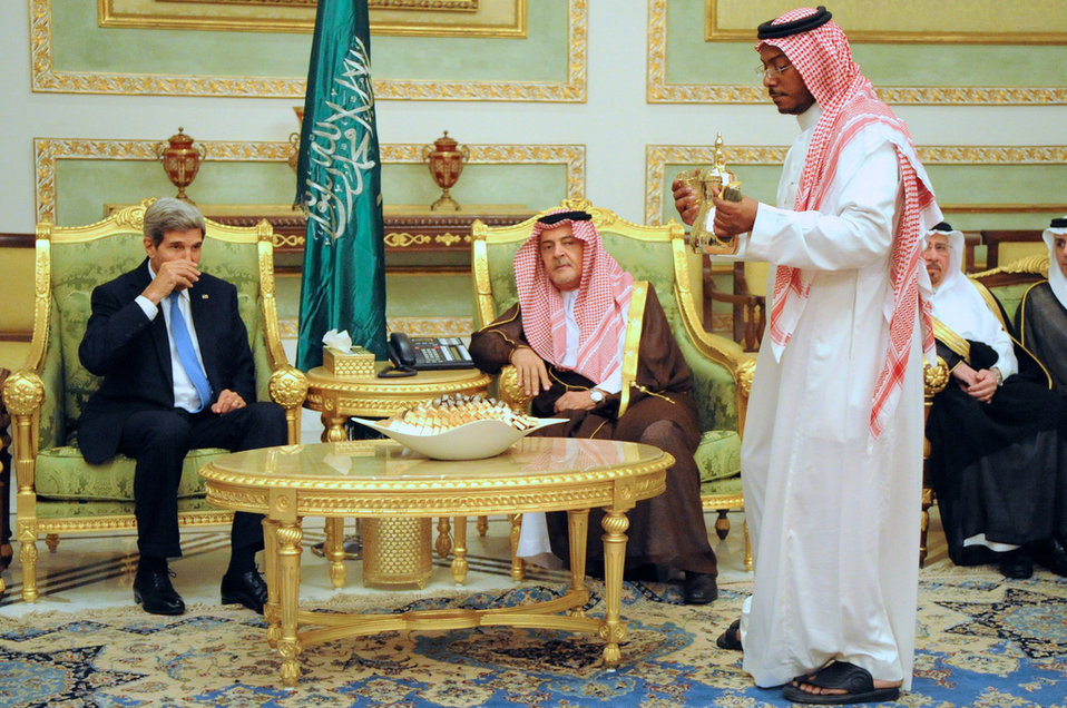 Secretary Kerry Participates in a Saudi Coffee Ceremony
