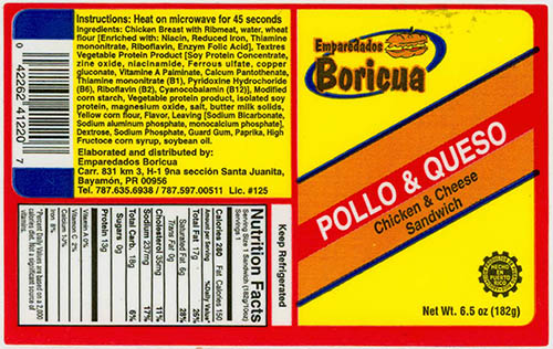 RECALLED – Chicken and Cheese  (Pollo and Queso) Sandwich