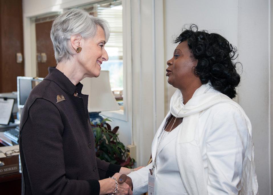 Under Secretary Sherman Greets Berta Soler of the Ladies in White