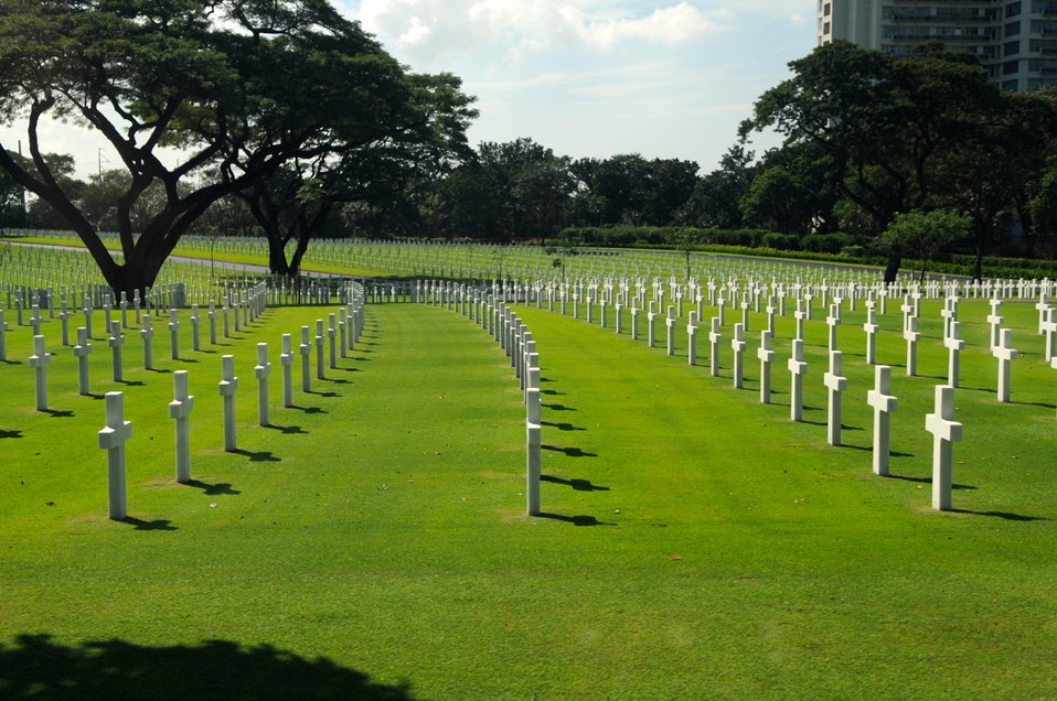 Crosses Mark 17,000 American and Filipino Dead at the American Cemetery in Manila