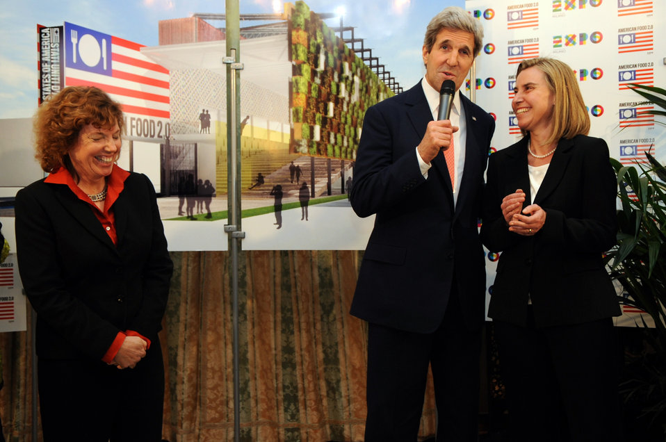 Secretary Kerry and Italian Foreign Minister Mogherini Share a Laugh