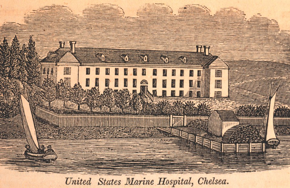 The United States Marine Hospital at Chelsea.  The building was made of stone and built in 1827.  Patients were sick and disabled seamen.  Although run by the  revenue collector of Boston and Charlestown, a physician and surgeon were appointed by the Pre