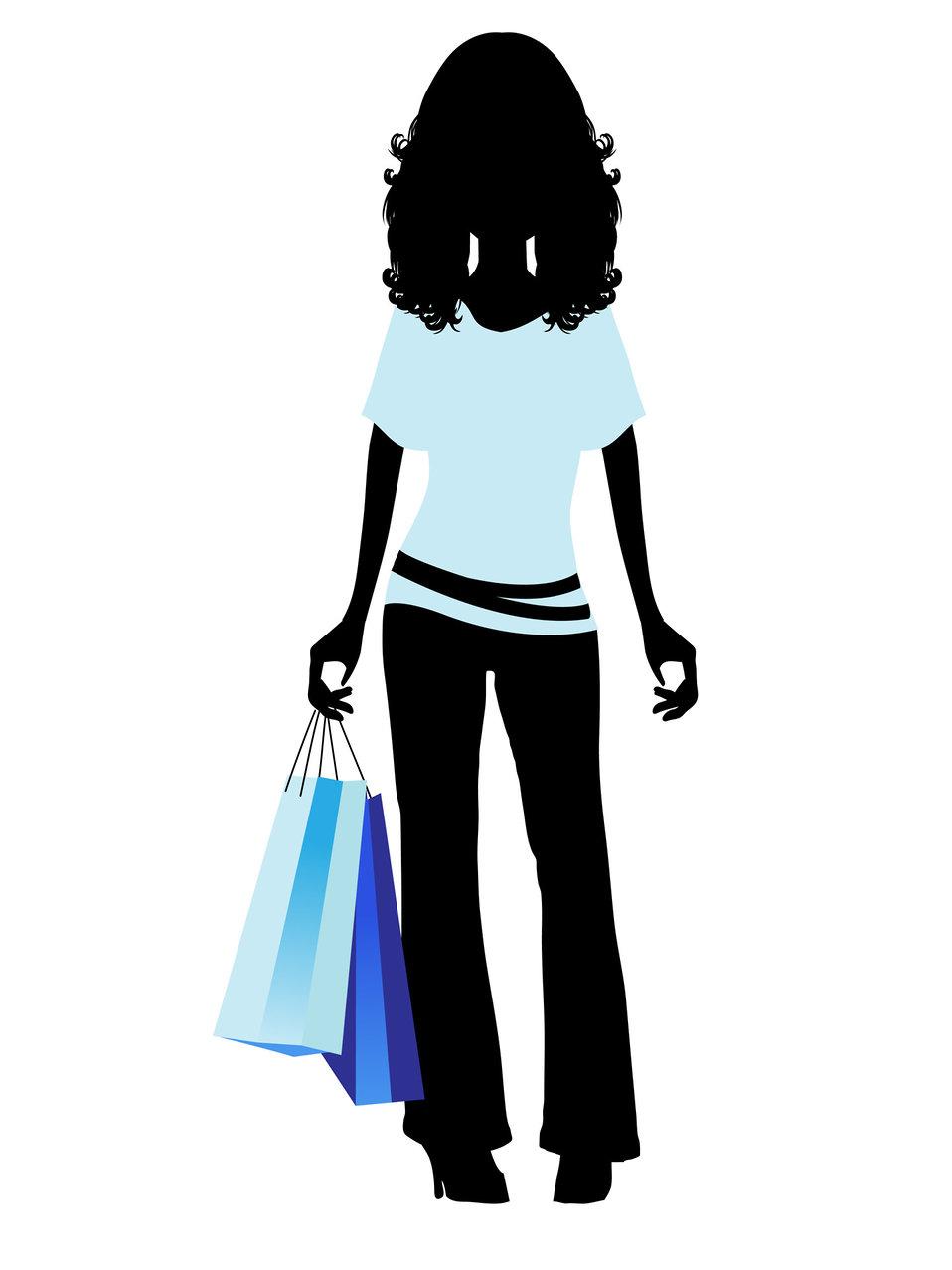 Fashion shopping girl clipart