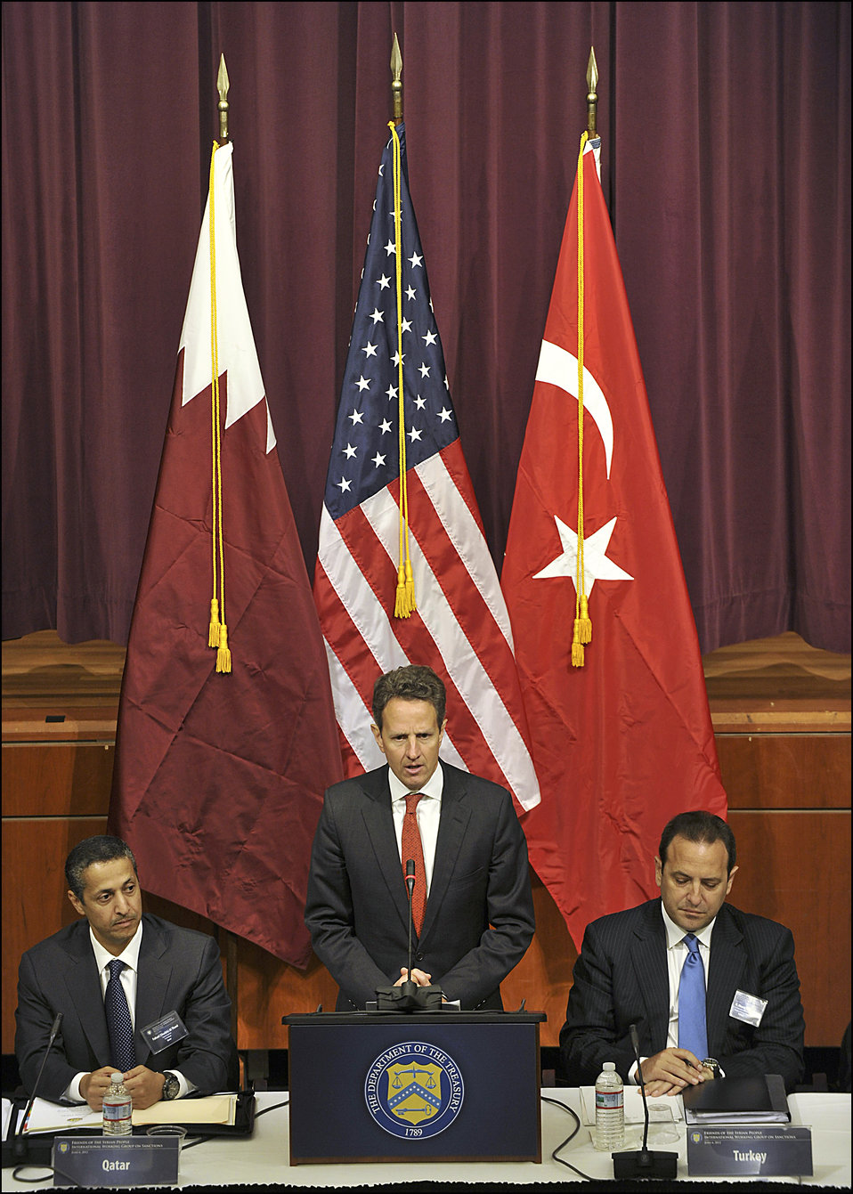 Secretary Geithner speaks before the Friends of Syrian People International Working Group on Sanctions