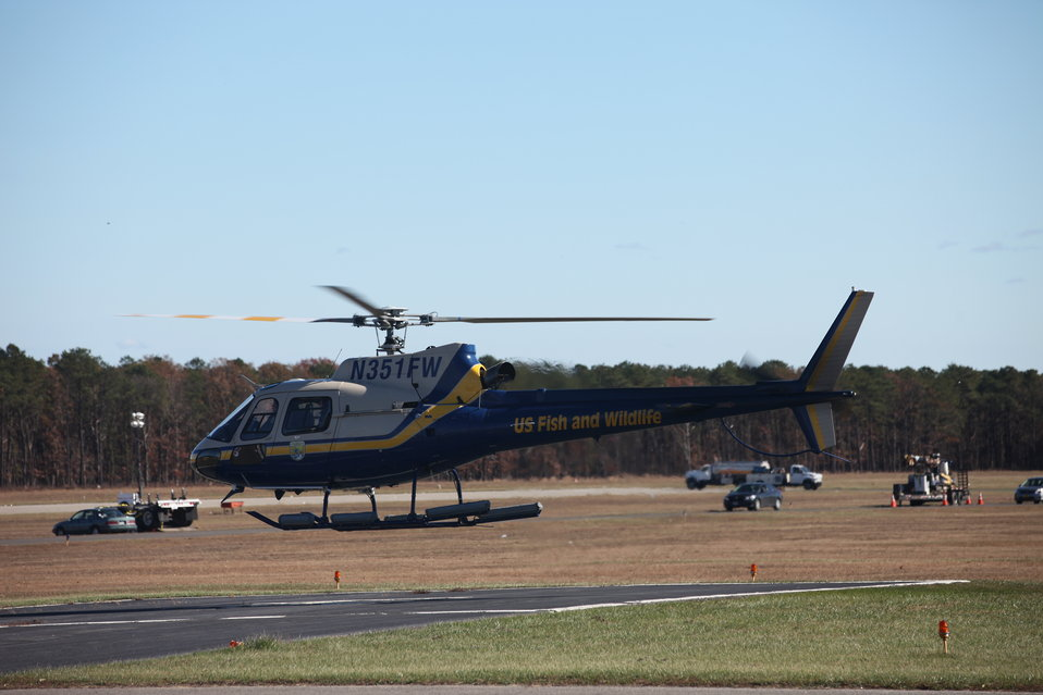 U.S. Fish and Wildlife Service helicopter touches down