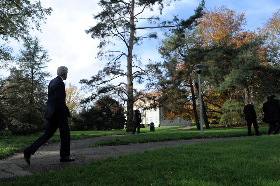 Secretary Kerry Takes a Walk in a Geneva Park