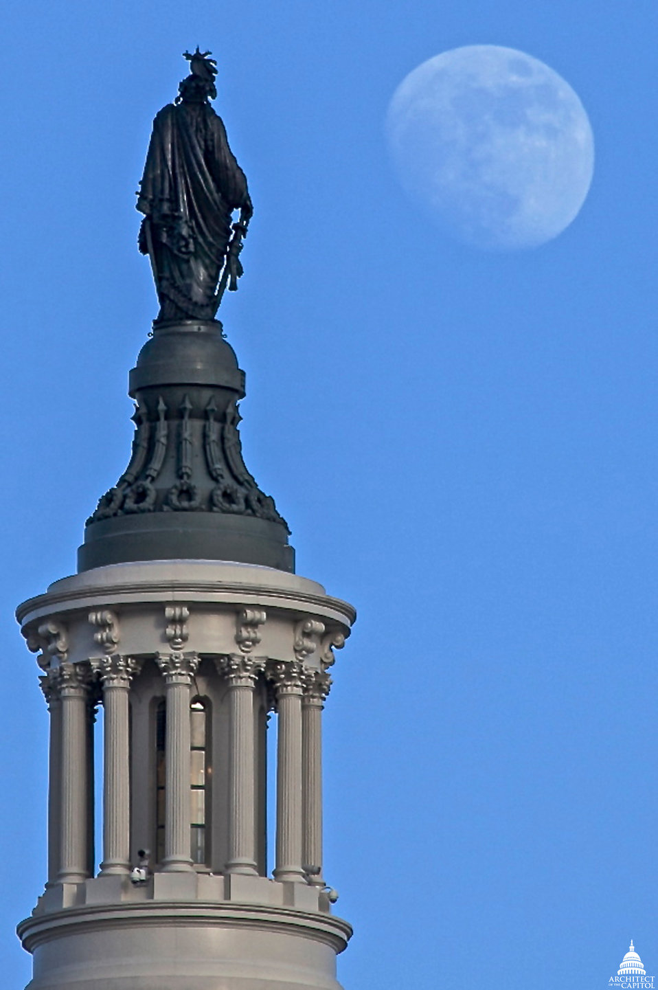 Moon Rises over Statue of Freedom