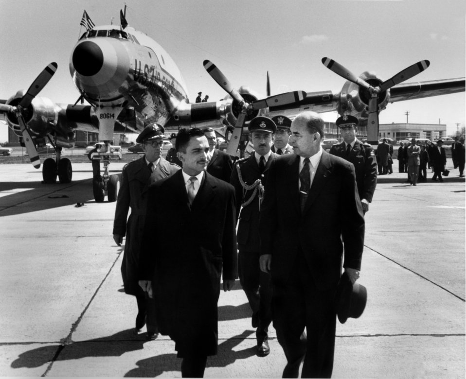 Arrival of King Hussein of Jordan at Knoxville's McGhee Tyson Airport