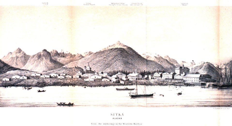 View of Sitka Harbor in:  'Coast Pilot of Alaska, (First Part,) ....' by George Davidson, 1869.  P. 118.  Library Call Number VK943 .N3 1st 1869.