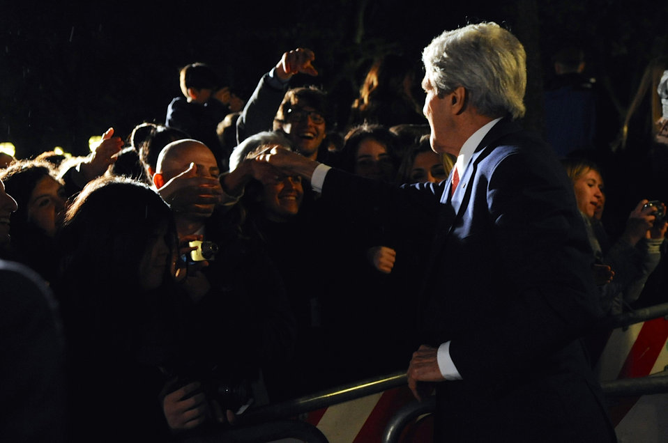 Secretary Kerry Greets Tri-Mission Rome Staff After President Obama's Speech