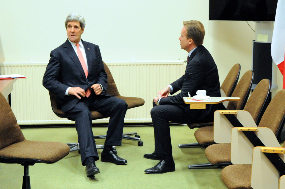 Secretary Kerry Chats With Norwegian Foreign Minister Brende in Brussels