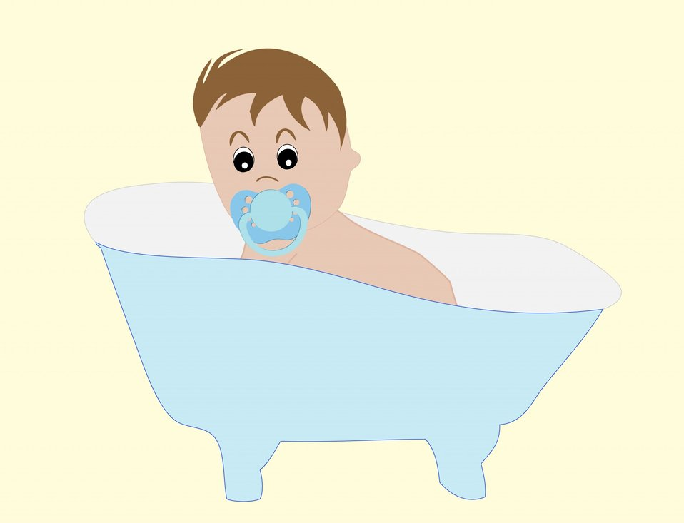 Baby boy in bathtub