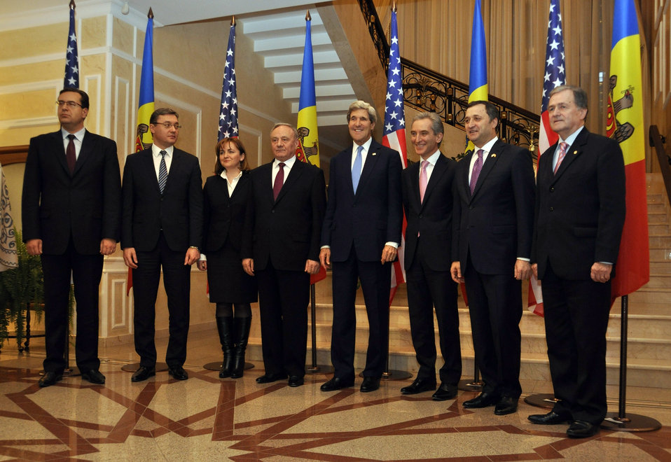 Secretary Kerry Poses for a Photo With Moldovan Leaders