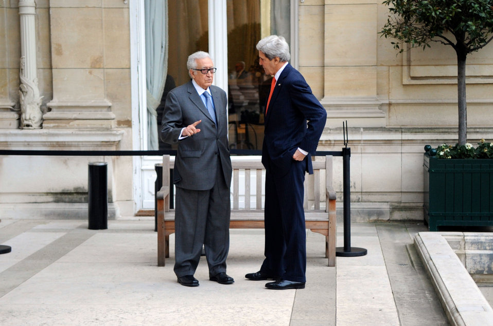 Secretary Kerry Holds a One-on-One Discussion With U.N. Special Representative Brahimi