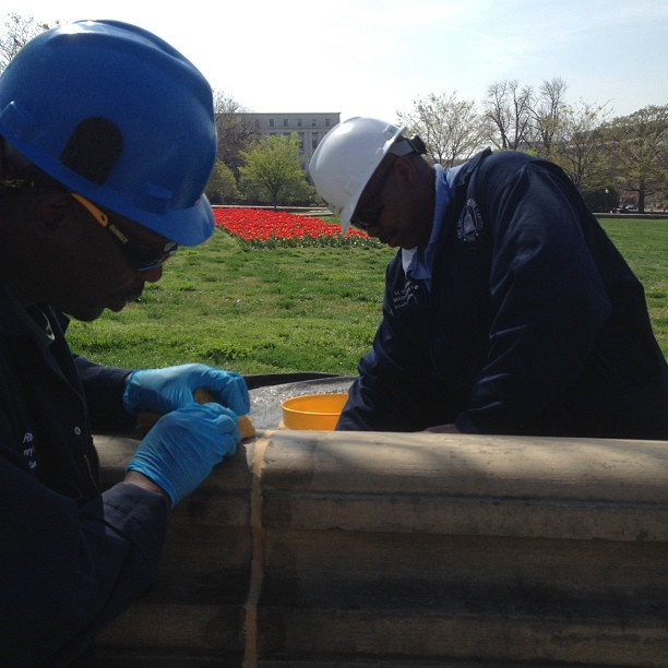 Great day for AOC stonemasons repairing the historic Capitol Olmsted walls.