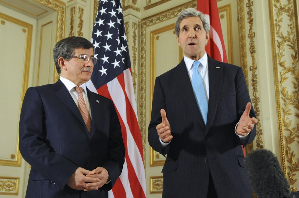 Secretary Kerry Addresses Media After Meeting with Turkish Foreign Minister Davutoglu