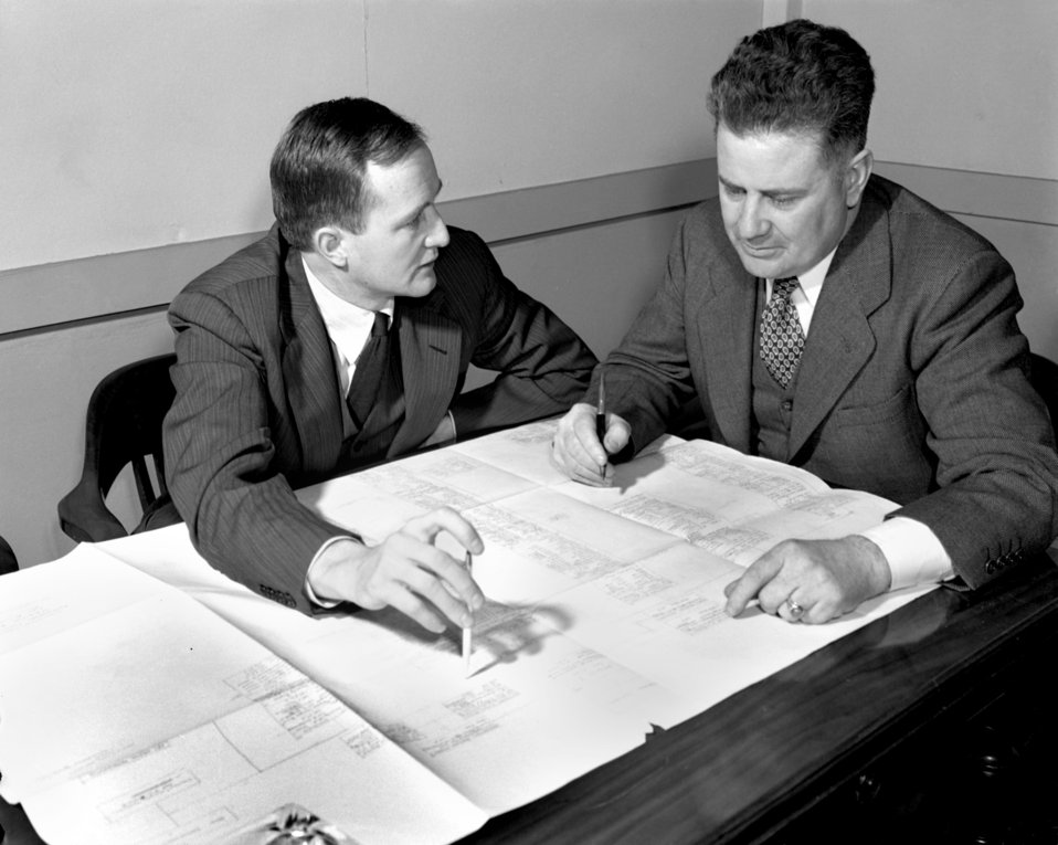 Walter J. Williams and Dr. James B. Fisk Oak Ridge 1947