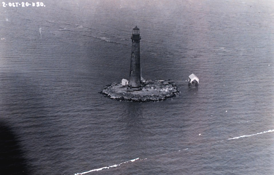 Sand Island Lighthouse as photographed from a U. S. Navy airplane.