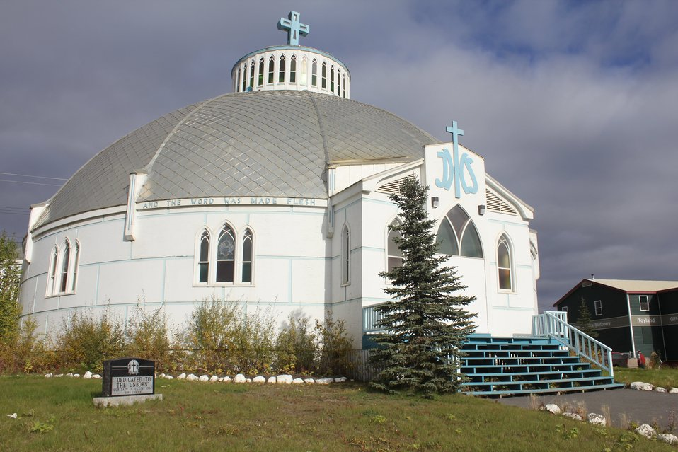The Catholic Church at Inuvik, known as the 'Igloo Church.'