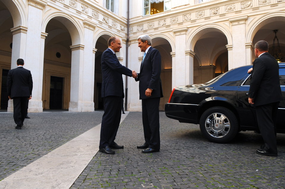 Italian Prime Minister Letta Bids Farewell To Secretary Kerry