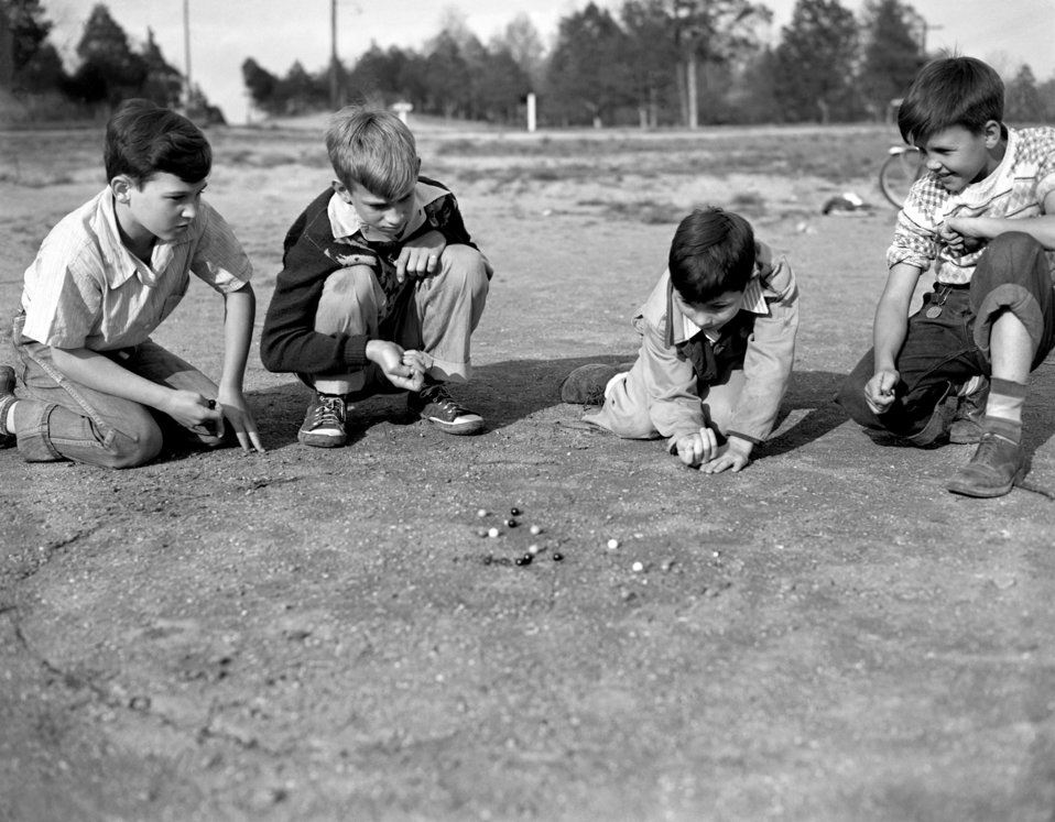 Boys Playing Marbles Oak Ridge 1947