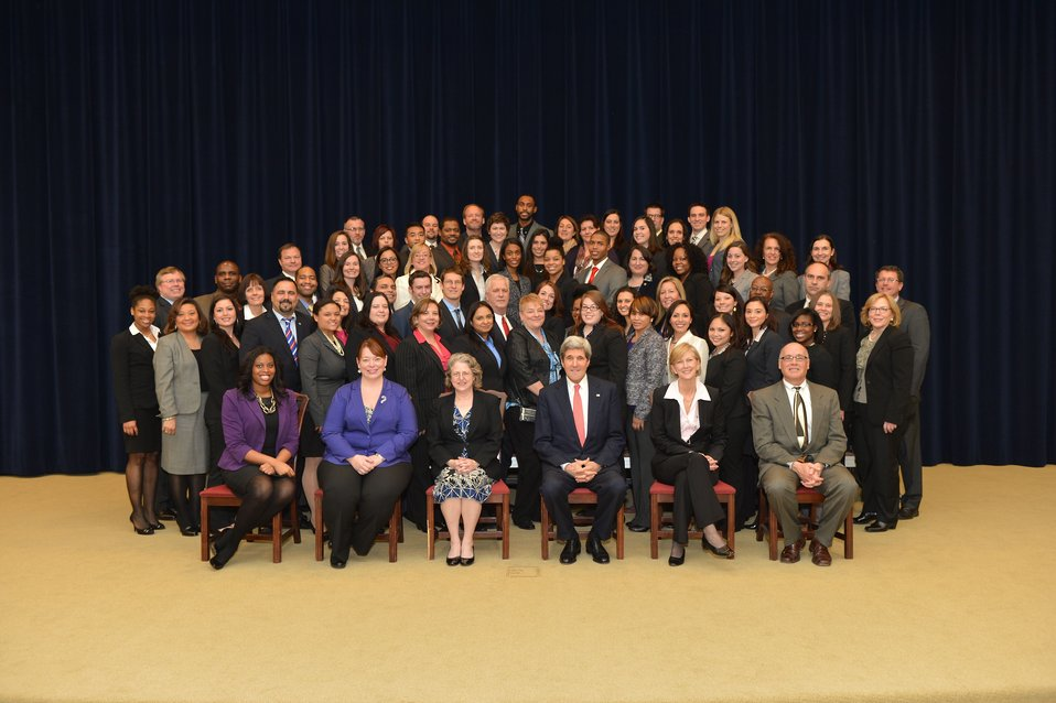 Secretary Kerry Poses for a Photo With a Civil Service Orientation Class