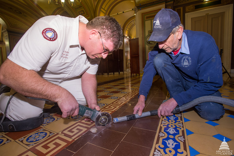 AOC masons at work in the Brumidi Corridors