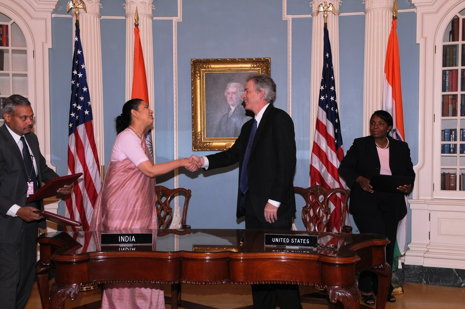 Under Secretary Burns and Indian Ambassador to the U.S. H.E. Meera Shankar Shake Hands