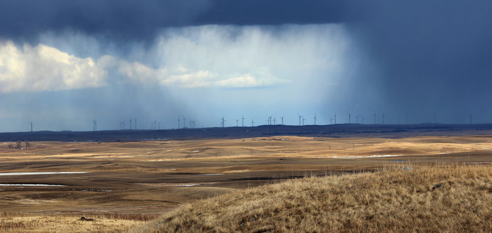 Wind Turbines during a Rainstorm