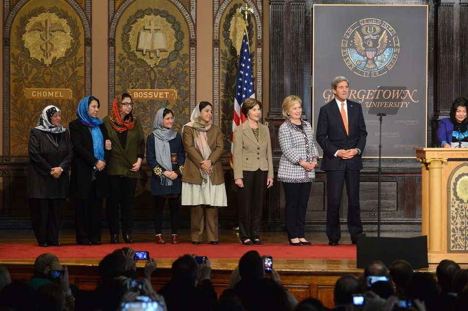 Secretary Kerry, Former Secretary Clinton, and Former First Lady Laura Bush Share the Stage