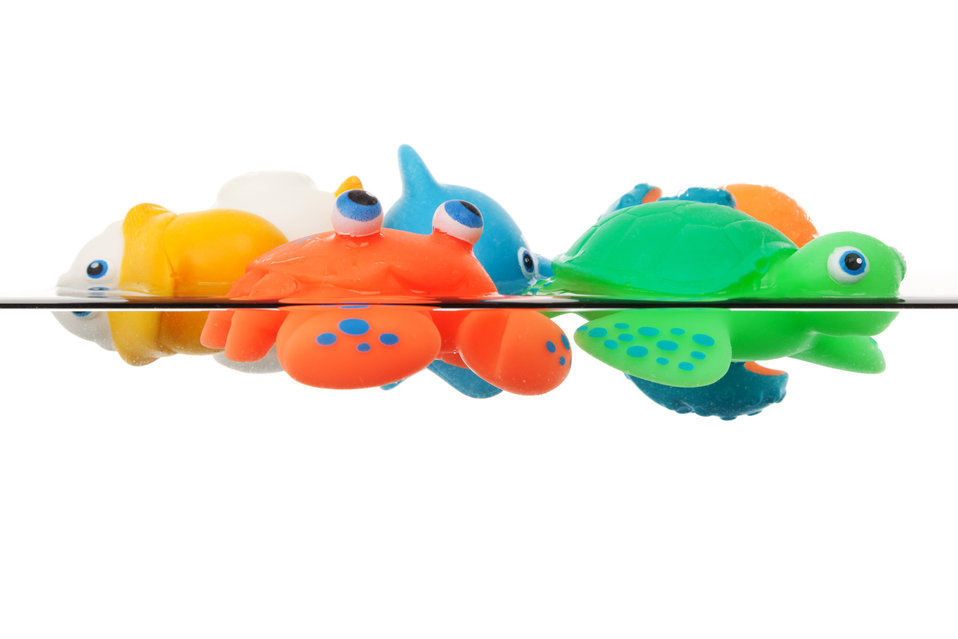 Bath toys in water