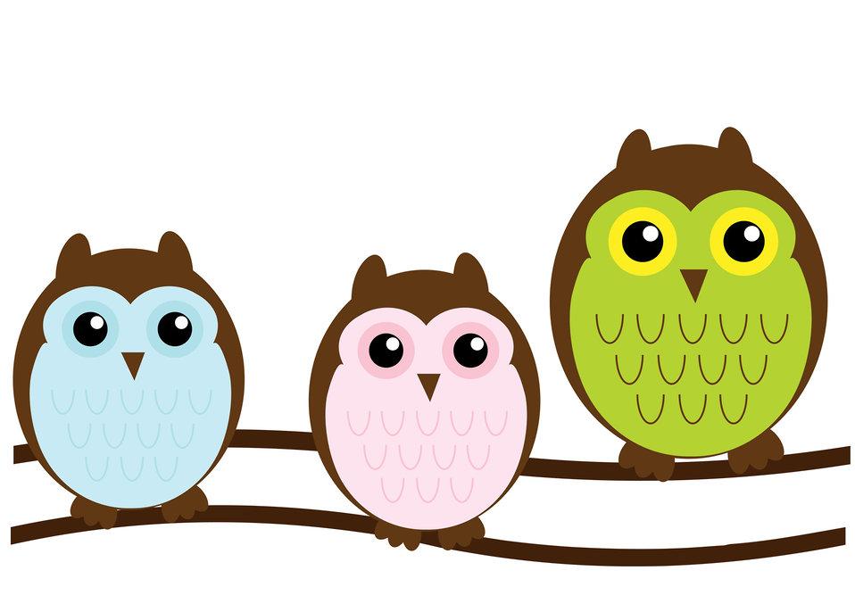Owl family cute clipart