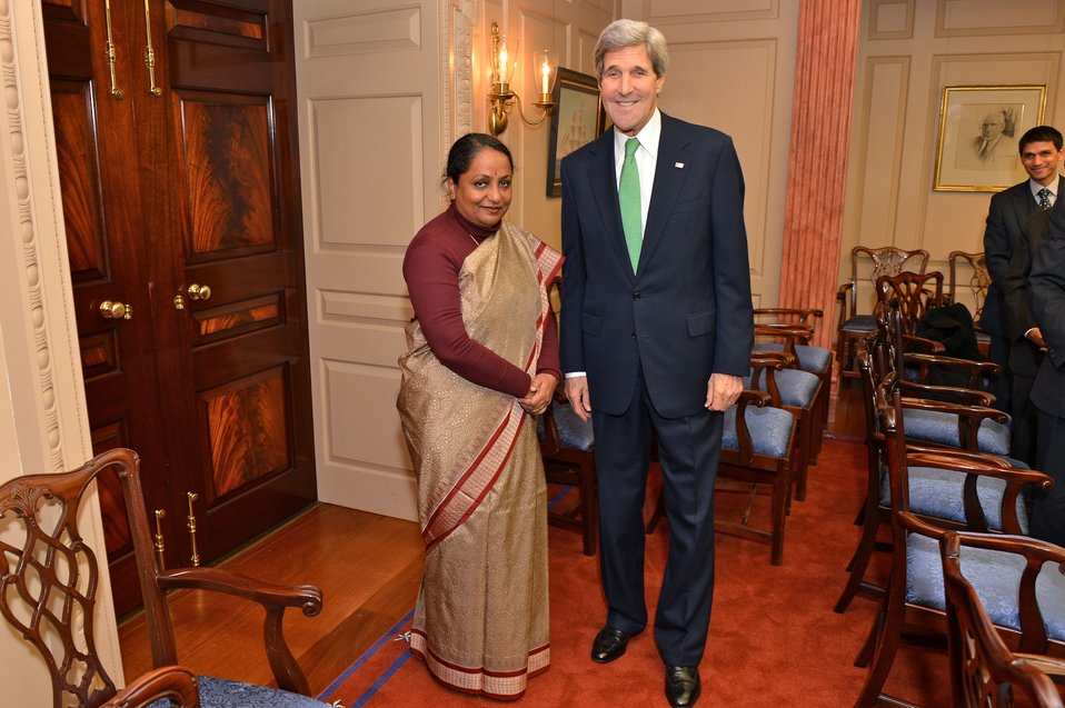 Secretary Kerry Poses for a Photo With Indian Foreign Secretary Singh