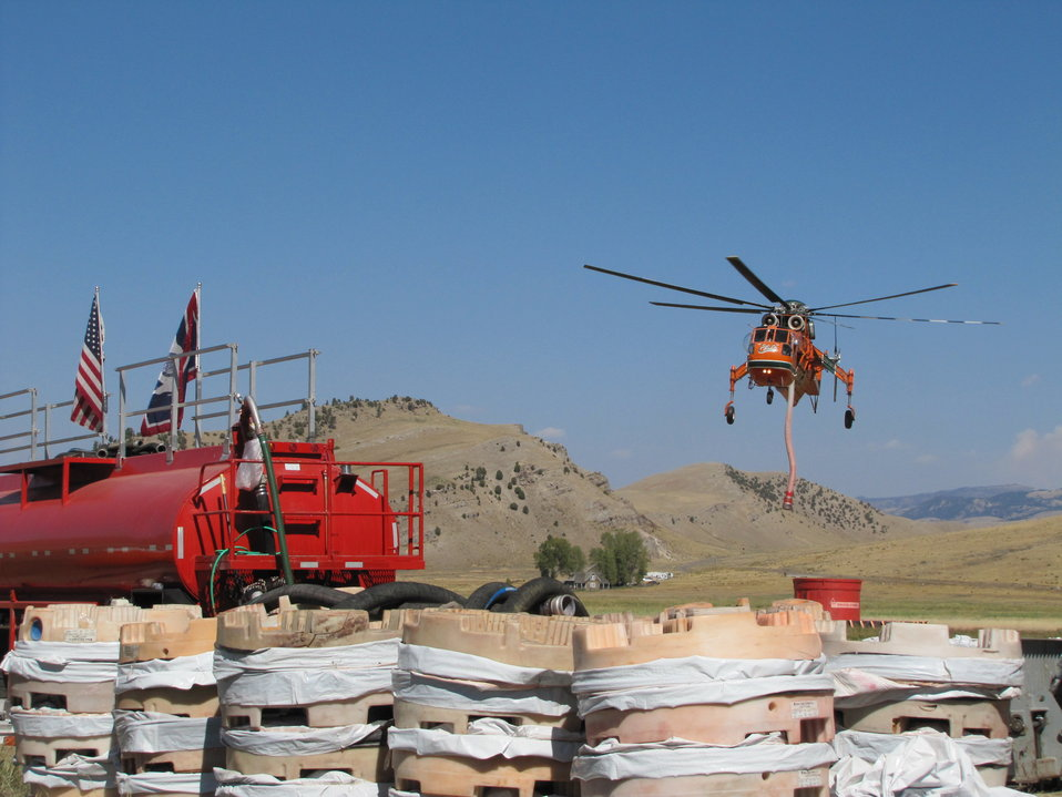 Fire Retardant Mixing Plant and Helicopter Operation