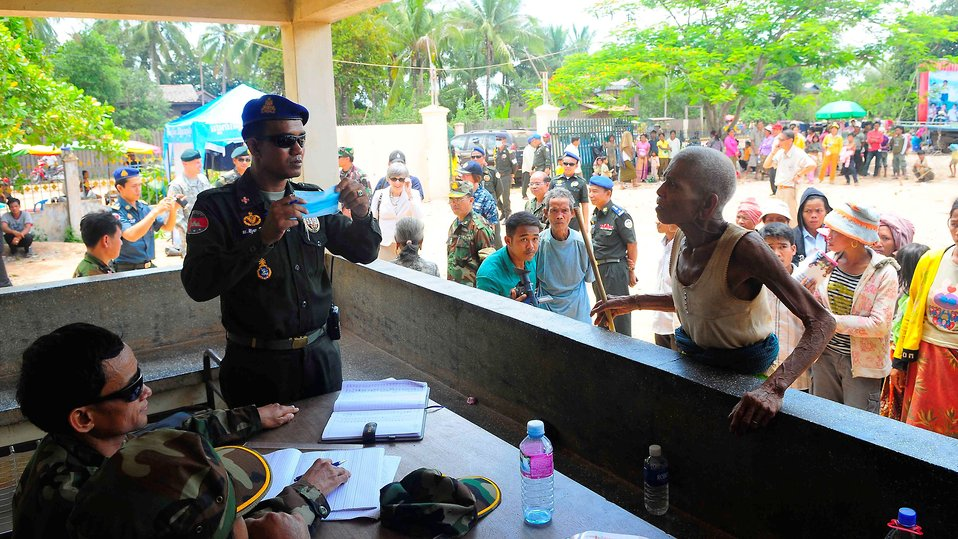 A Medical Patient Receives Screening from a Cambodian Military Medical Professional