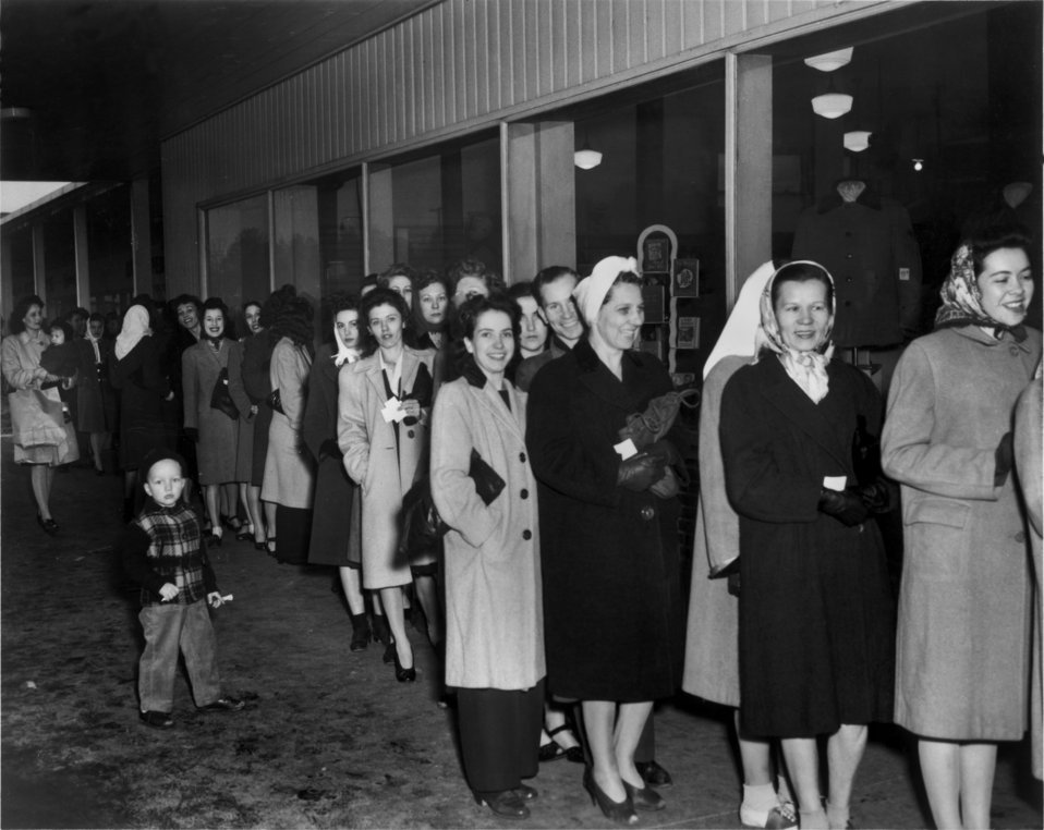 Standing in line for nylon stockings at Millers dept. store Oak Ridge