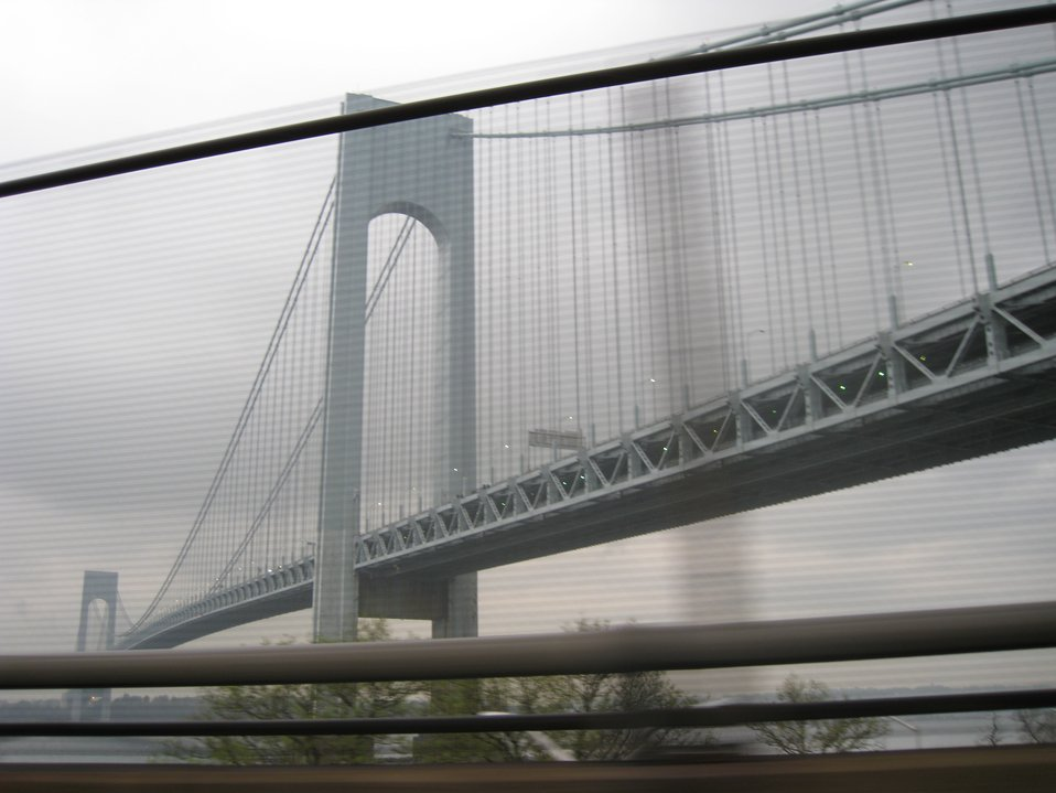 The Verrazano Narrows Bridge as viewed from the Shore Parkway on Long Island.